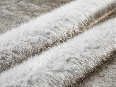 9HG0091-Off-white dyed coffee fox fur faux fur fabric