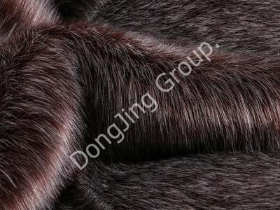 9KW0176-Red coffee clip bleached hairy fox fur faux fur fabric