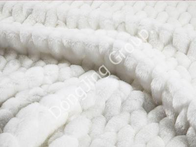 X9HG0193-White embossed rabbit hair faux fur fabric